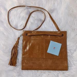 HOBO brand large carmel leather crossbody bag